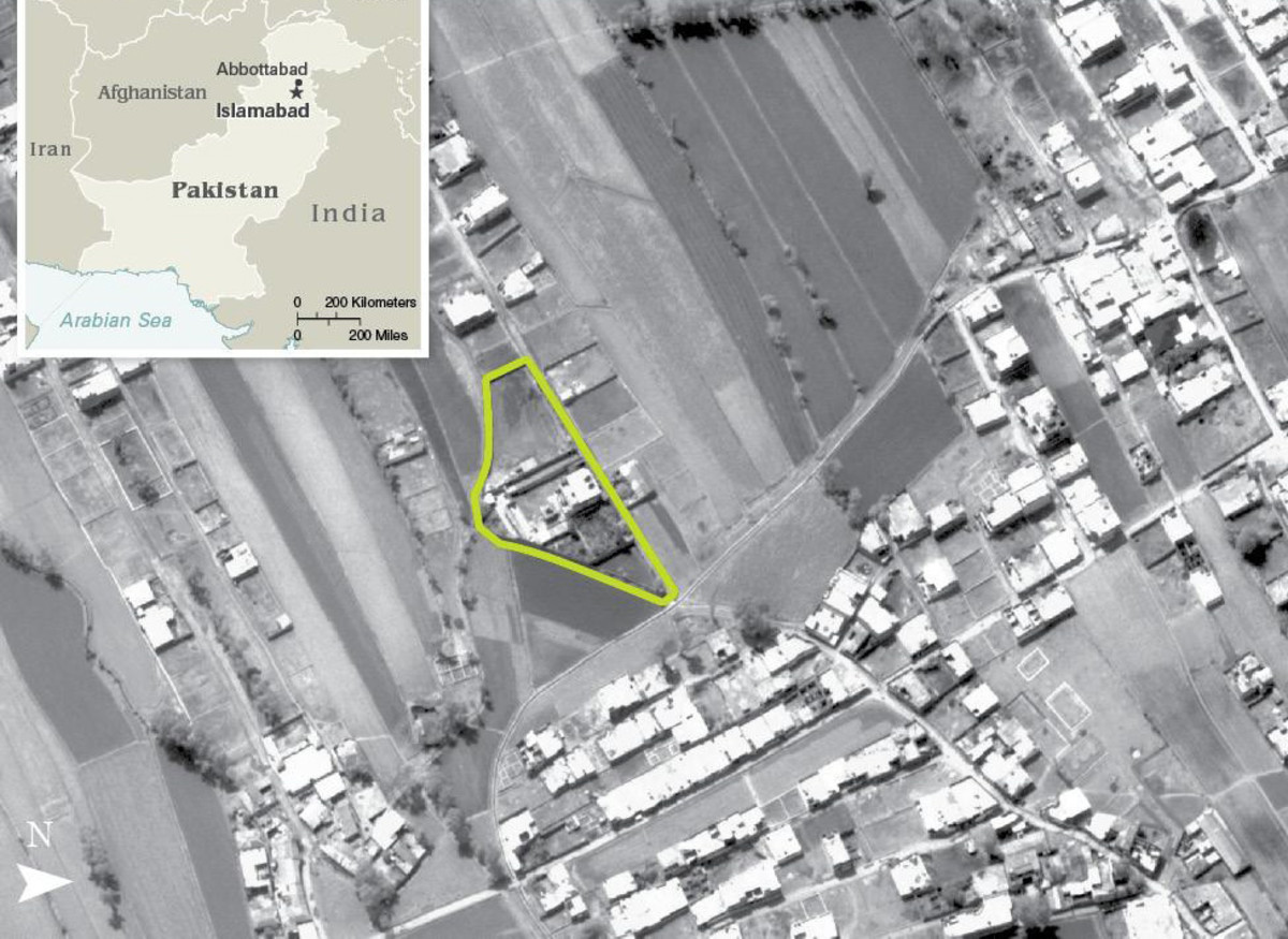 An aerial photo of Osama bin Laden's compound in Abbottabad, Pakistan, date unknown.
