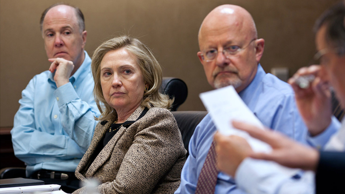 National Security Advisor Tom Donilon, Secretary of State Hillary Clinton and Director of National Intelligence James Clapper listen as Leon Panetta, Director of the CIA speaks during a meeting in the Situation Room on May 1, 2011 in Washington, D.C.