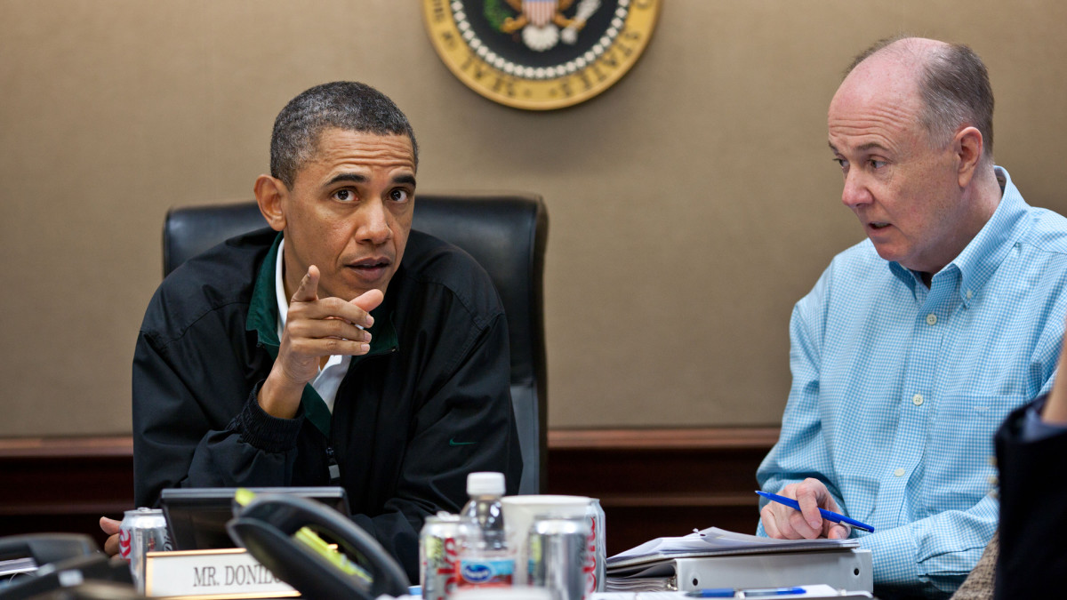 President Barack Obama and National Security Adviser Tom Donilon during a meeting in the White House Situation Room, discussing the mission to capture or kill Osama bin Laden, May 1, 2011.
