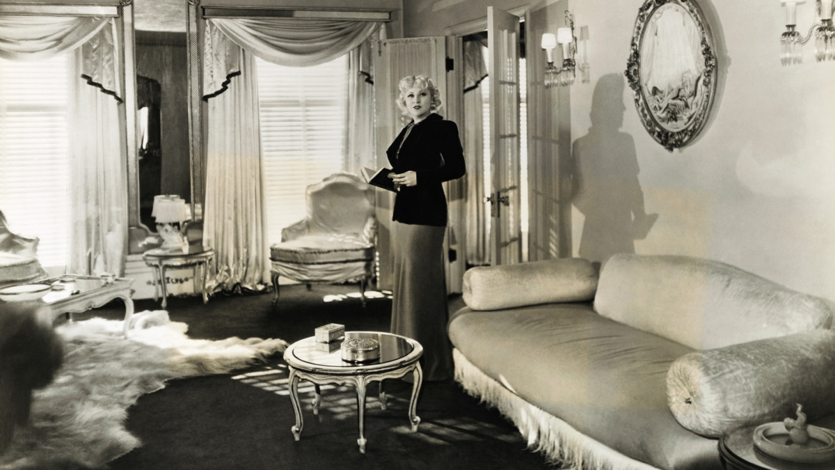 Paramount star Mae West in her Hollywood home, c. 1930.