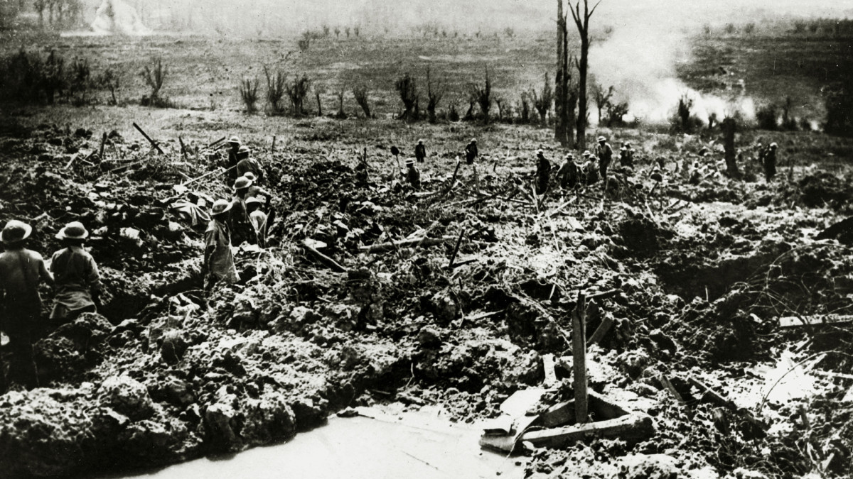 British sappers digging a communication trench to Messines Ridge in a landscape showing the scars of battle, May 7, 1917.