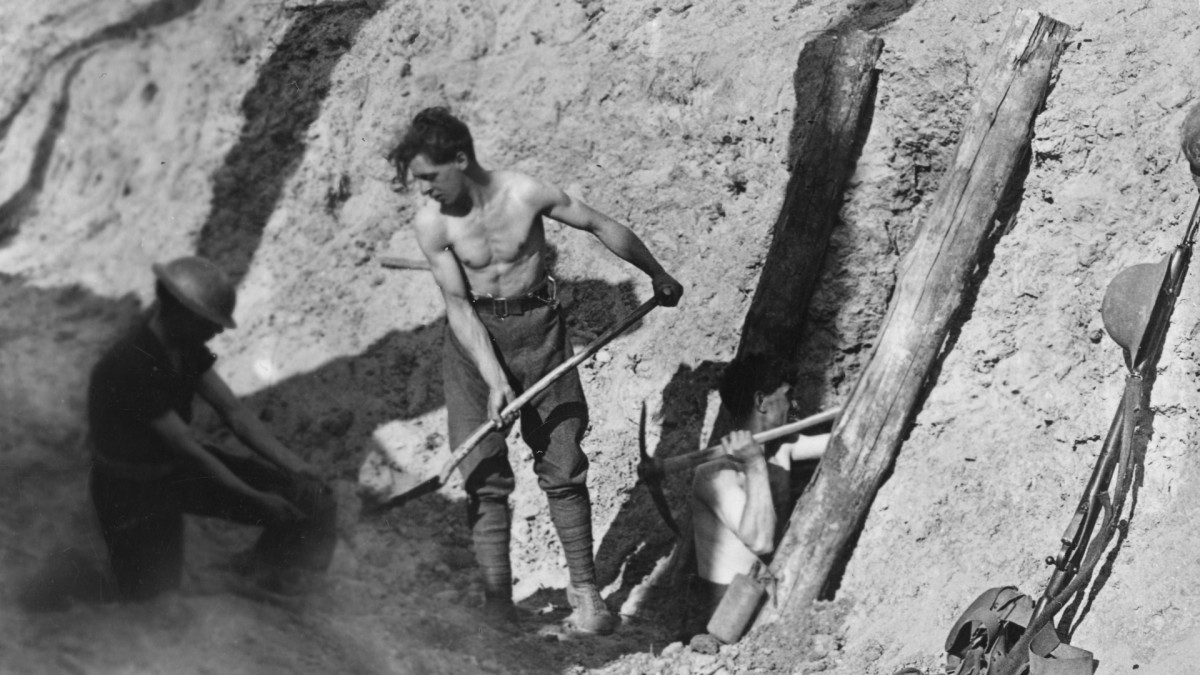 Sappers and miners digging a tunnel under Hill 60, a strategically important high point on the southern edge of the Ypres salient that had been captured by the Germans in 1914.