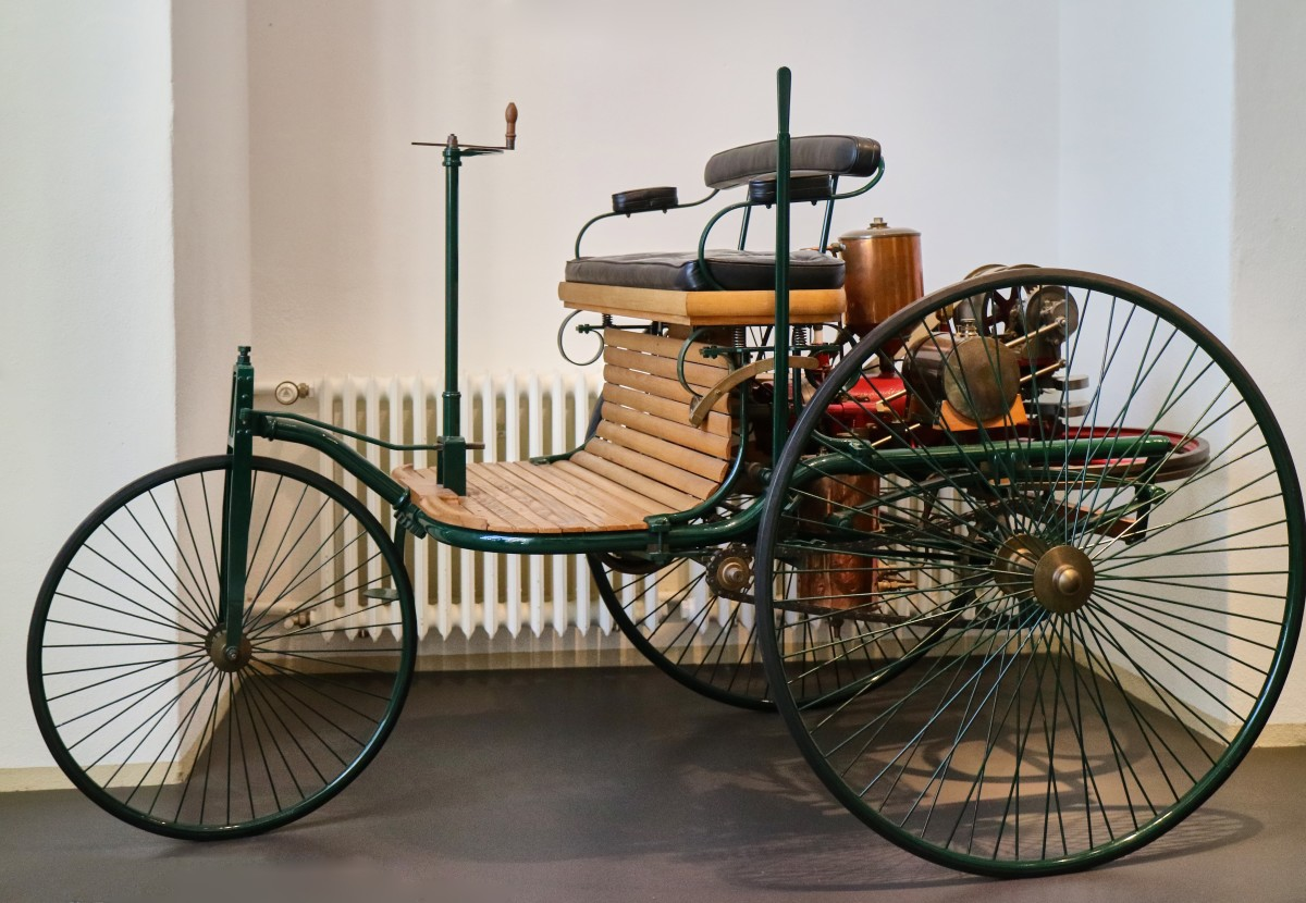 The world's first automobile: a 3-wheeled open buggy designed by Carl Benz in 1886, seen in the Dresden Transport Museum