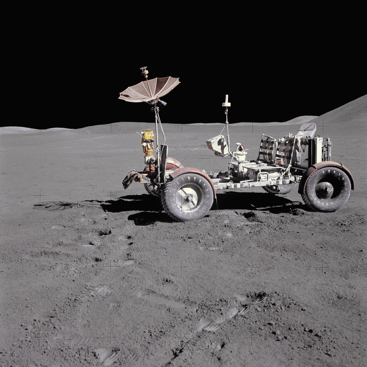 The Apollo 15 lunar rover, a four-wheeled vehicle used by NASA astronauts to travel over the moon's surface. This was the first mission to include the rover, which was also used on the Apollo 16 and Apollo 17 missions.