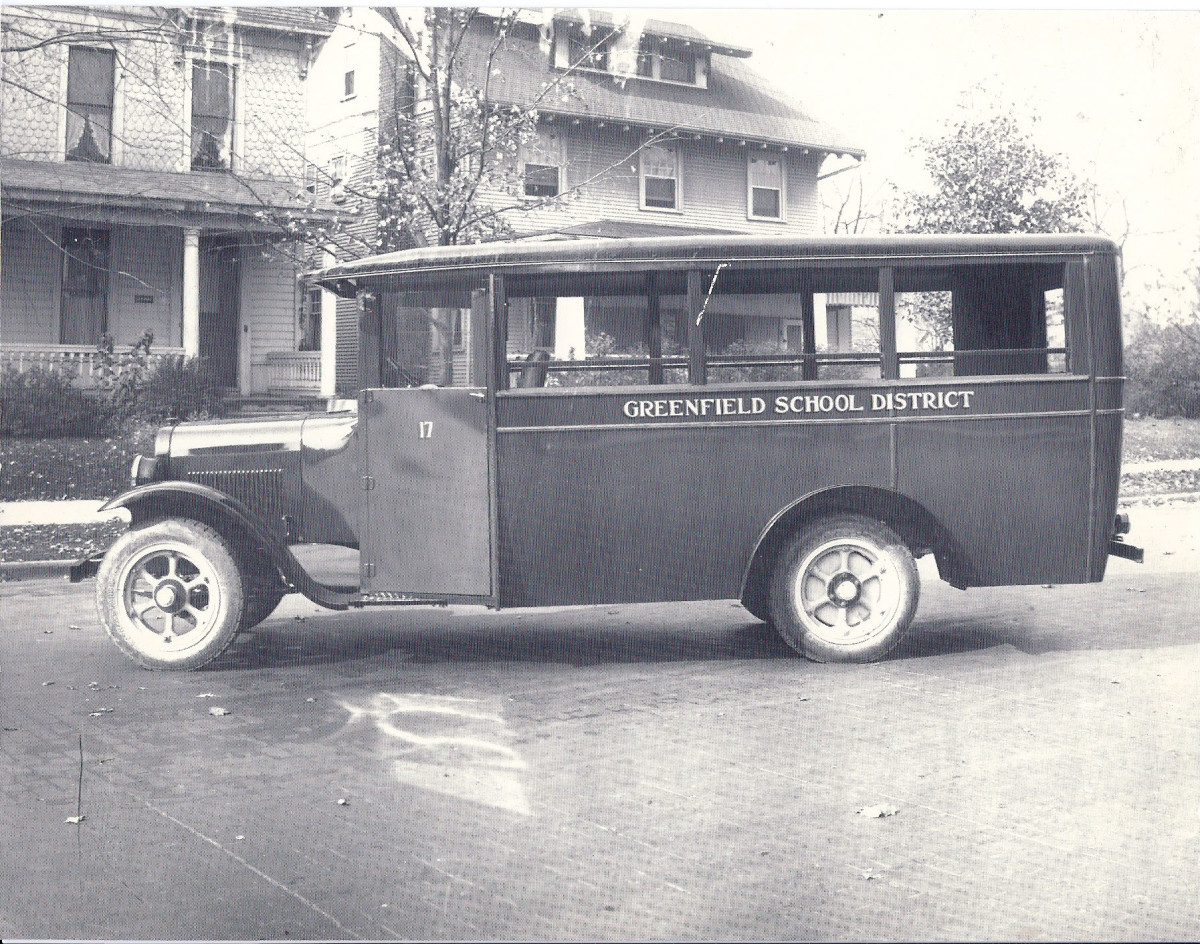 Photograph of a Greenfield School District bus built by the Patterson company