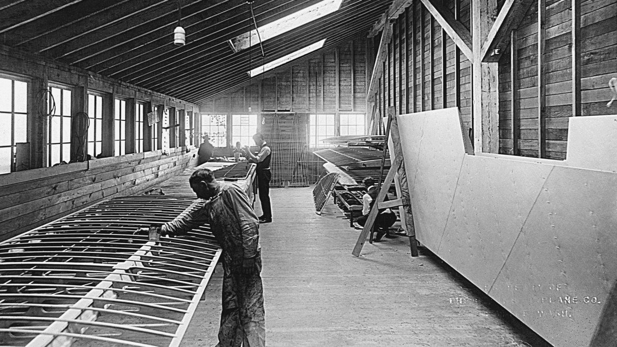 The Dope Room at the Boeing aircraft factory, shown here in 1917, is where airplane wings like this Model C wing structure were designed and constructed.