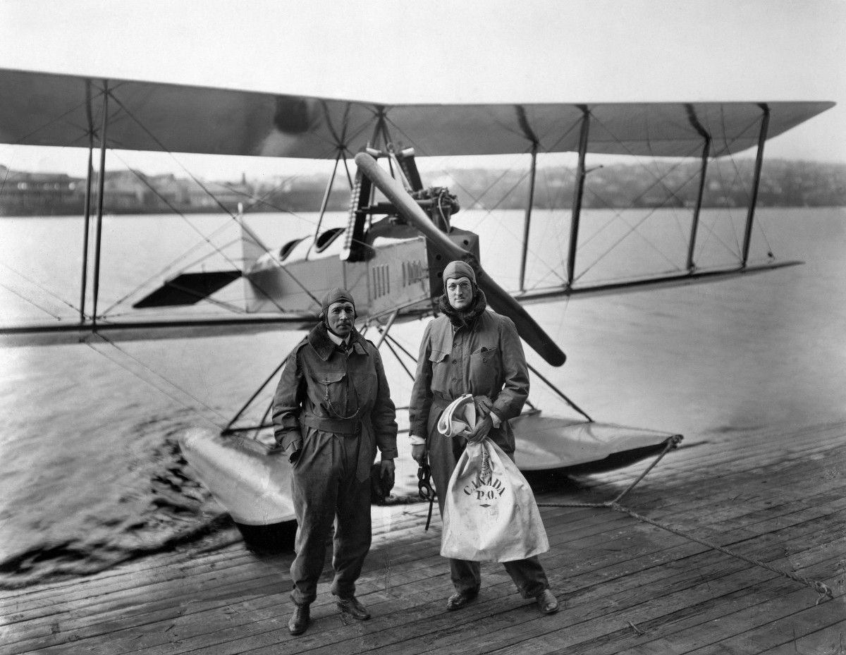 On March 3, 1919, William Boeing (right) and pilot Eddie Hubbard performed the first U.S. international airmail flight in this Boeing Model C, a modified World War I trainer they flew from Vancouver, Canada, to Seattle.