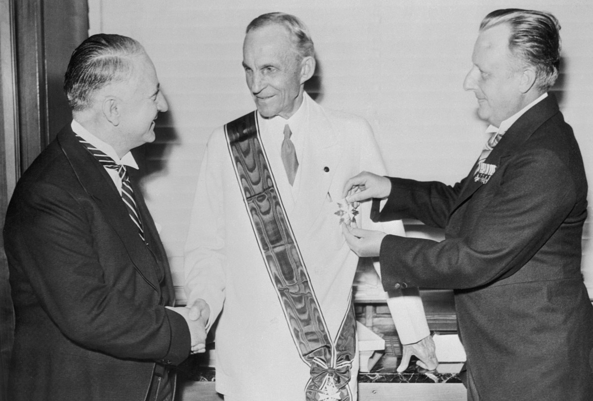 Henry Ford receives the Grand Cross of the German Eagle, highest Nazi award to a foreigner