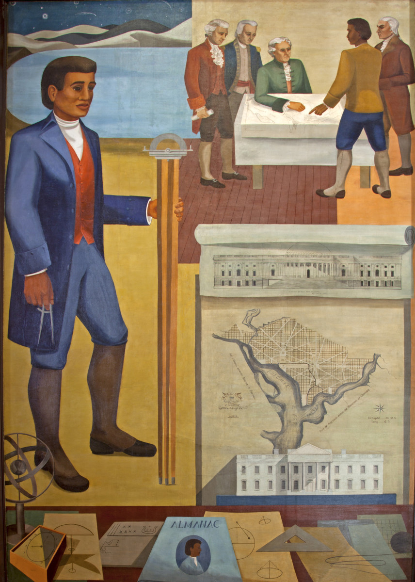 Mural of Benjamin Banneker, surveyor, inventor, and astronomer, mural painted by Maxime Seelbinder, at the Recorder of Deeds building, Washington, D.C. built in 1943.