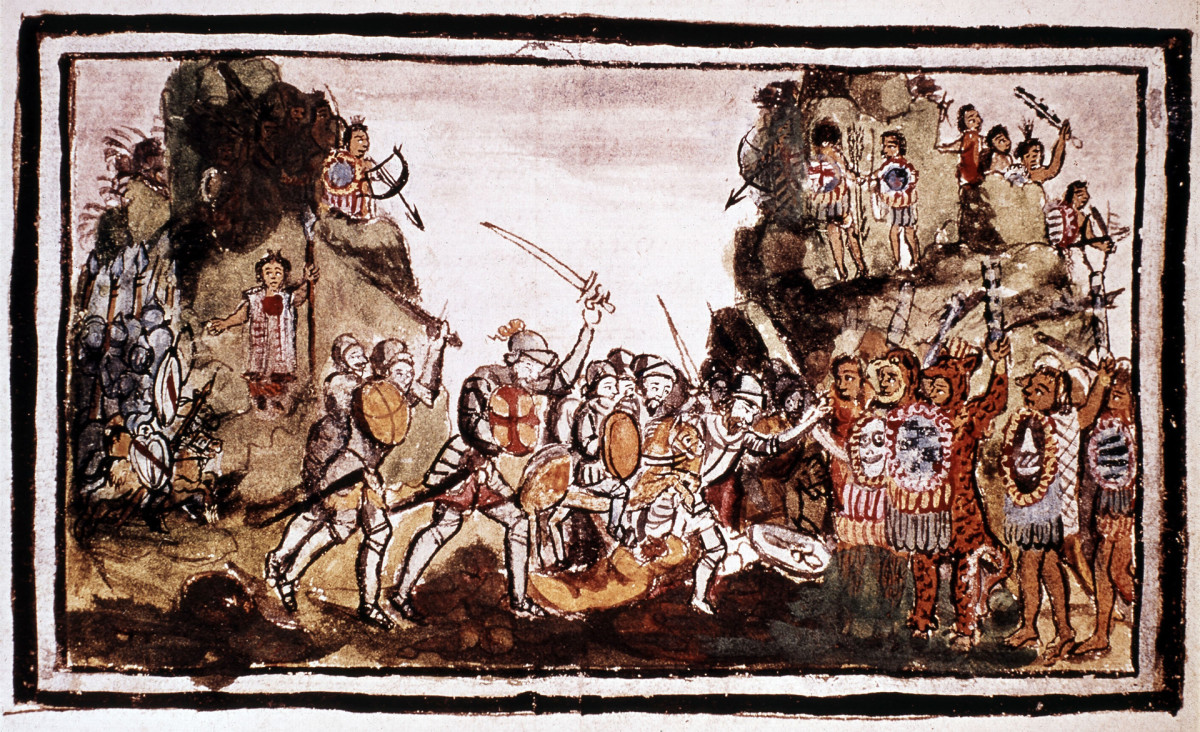 Hernándo Cortésattacking Indigenous forces in Mexico.