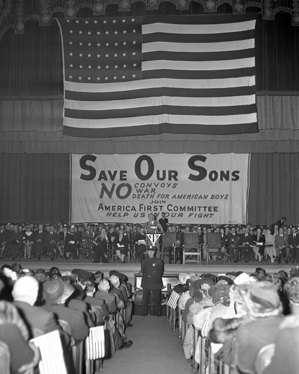 A large crowd attending the America First Committee (AFC) rally in New York City, 1941. The AFC voiced opposition to America's involvement in World War II.