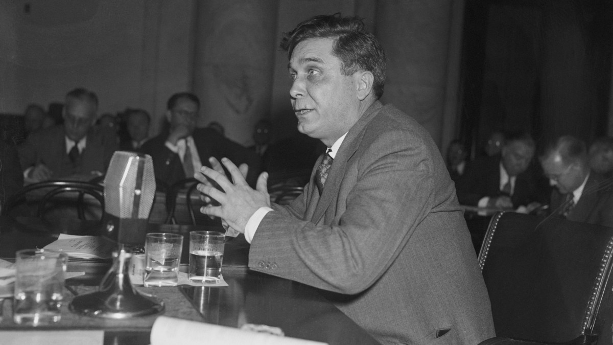 Wendell Willkie, president of the Commonwealth and Southern Corporation, appearing before the joint congressional committee during the investigation into affairs of the Tennessee Valley Authority, November 26, 1938.
