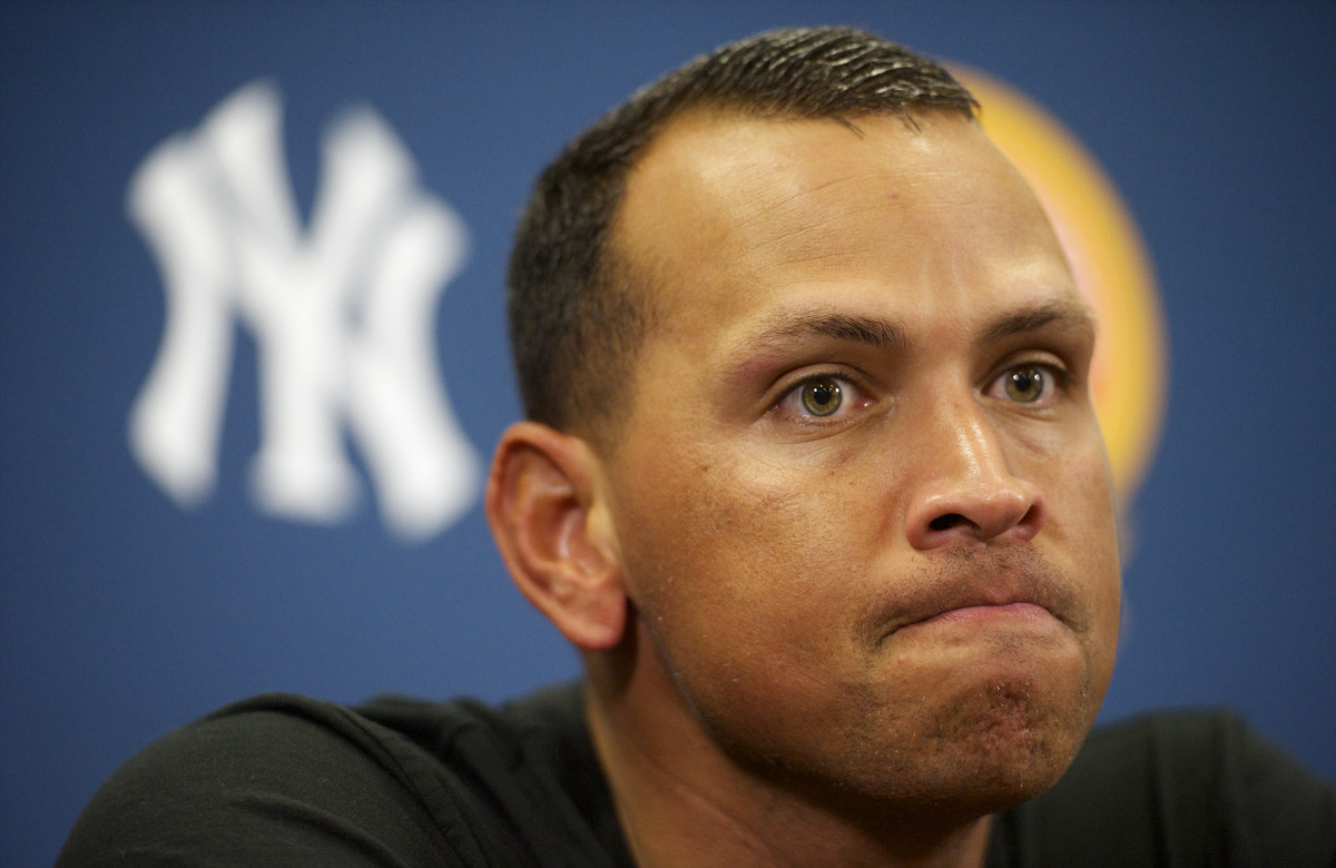 Alex Rodriguez addresses the media after playing a minor league game for the Trenton Thunder in Trenton, New Jersey on August 3, 2013