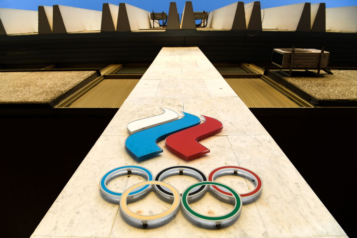 The Russian Olympic Committee logo is pictured at the Russian Olympic Committee headquarters in Moscow on November 23, 2019