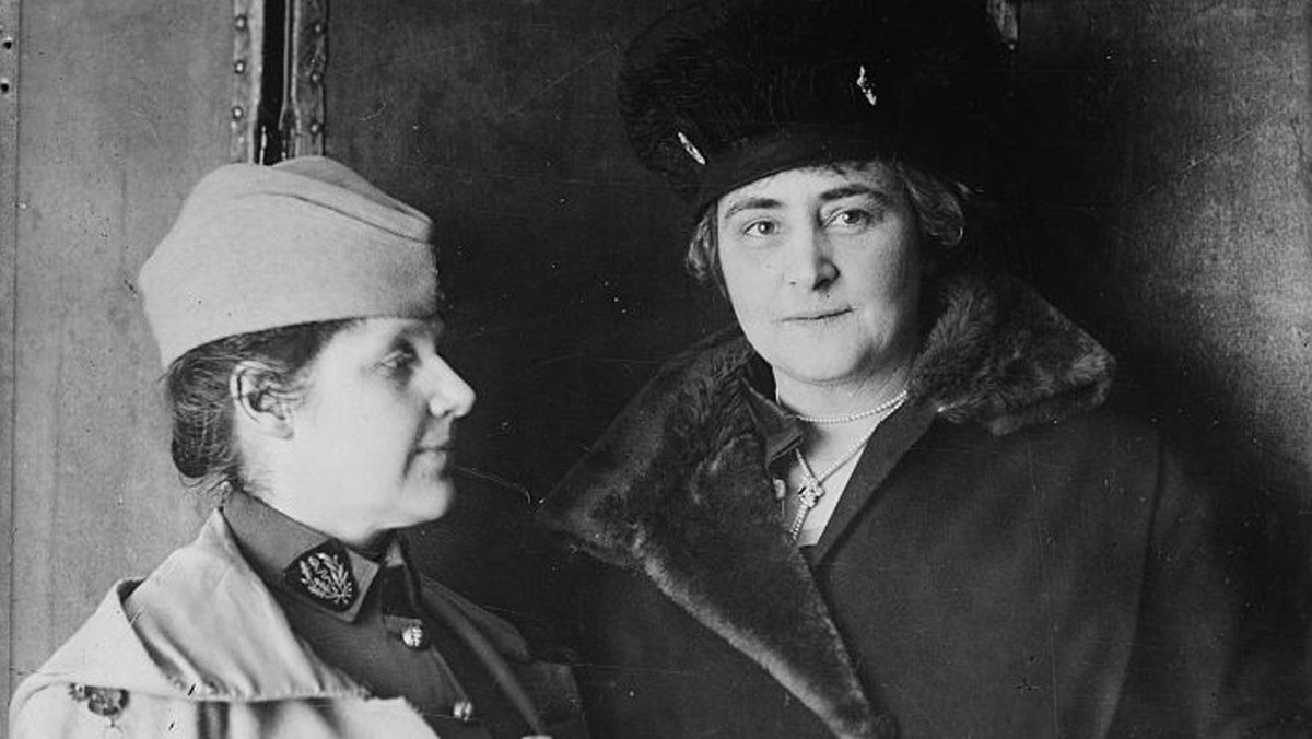 Photograph shows Dr. Rosalie Slaughter (1876-1968), co-founder of the American Women's Hospitals Service, with philanthropist Anne Tracy Morgan (1873-1952), who worked to provide relief in World War I.