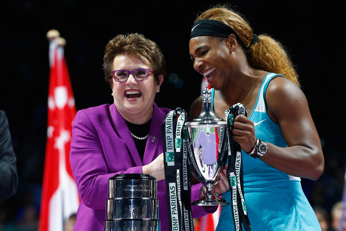 Serena Williams (R) with Billie Jean King after Williams' win over Simona Halep of Romania at the BNP Paribas WTA Finals at Singapore Sports Hub on October 26, 2014