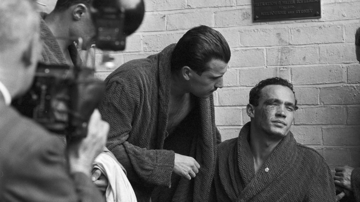 Hungarian Ervin Zádor was taken out of the pool after his injury. He was among 46 athletes who defected to the West after the 1956 Olympics.