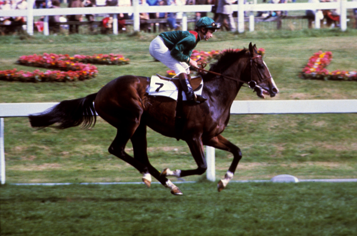 Walter Swinburn on Shergar in the St Leger Stakes at Doncaster