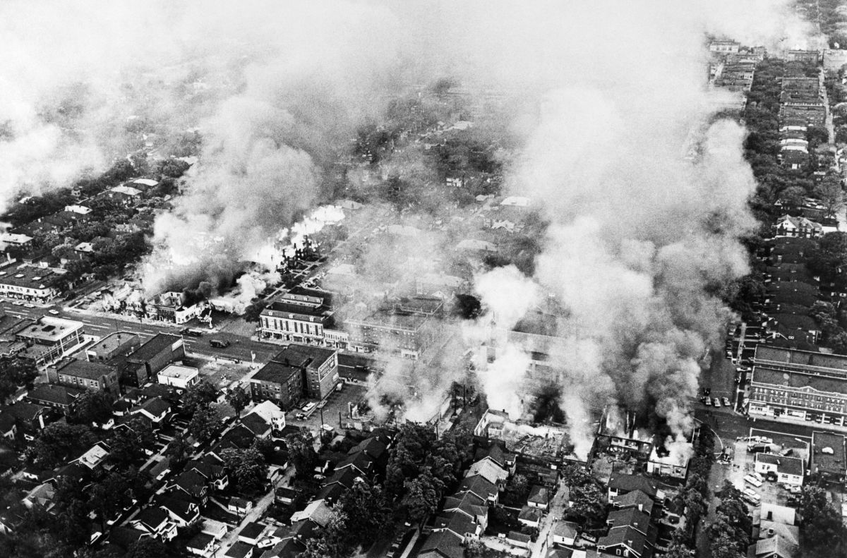 Aerial view of burning buildings in Detroit on July 25, 1967 during riots that erupted in Detroit following a police operation