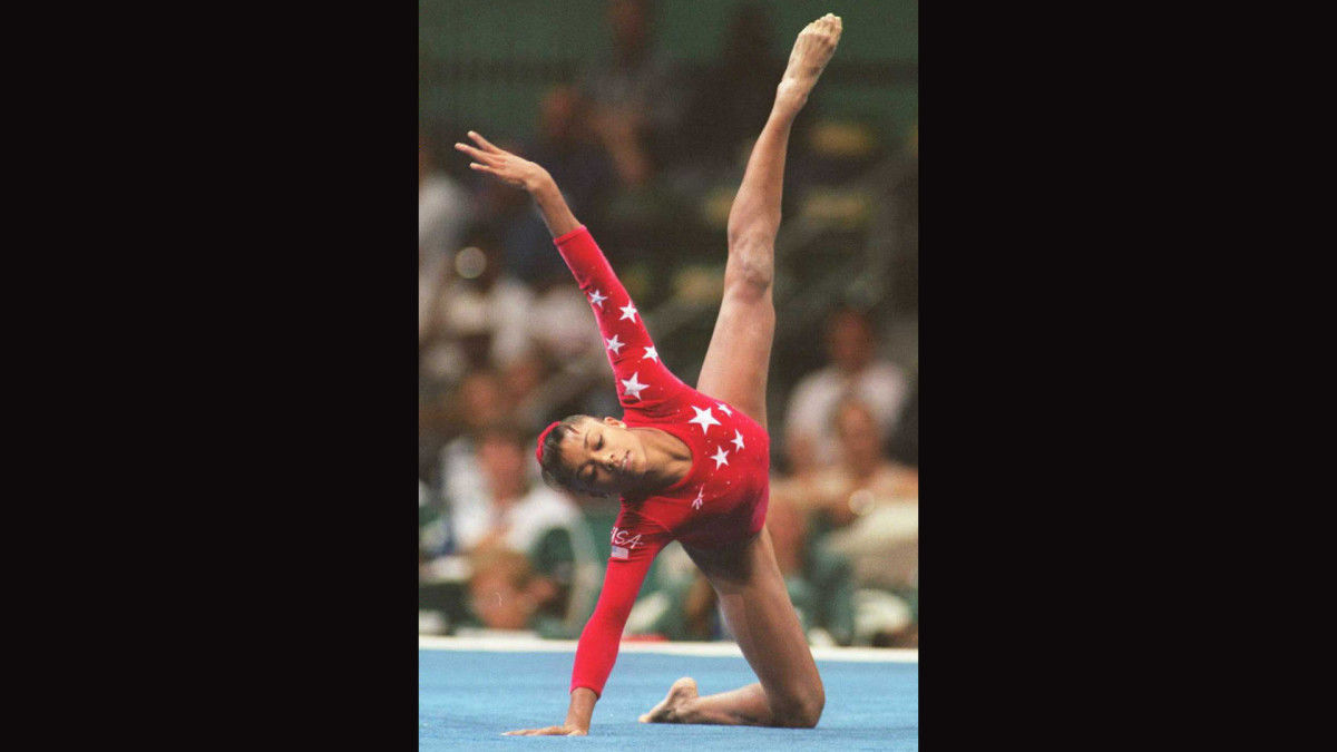 ATLANTA, GA - JULY 30: Dominique Dawes of the US performs her routine in the Olympic individual floor event 29 July. Dawes took the bronze.