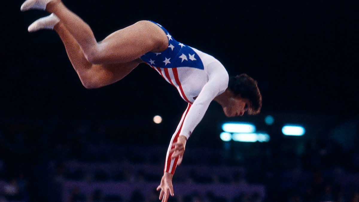 Mary Lou Retton is airborne during the women's vault competition, at the 1984 Summer Olympics, August 1, 1984.