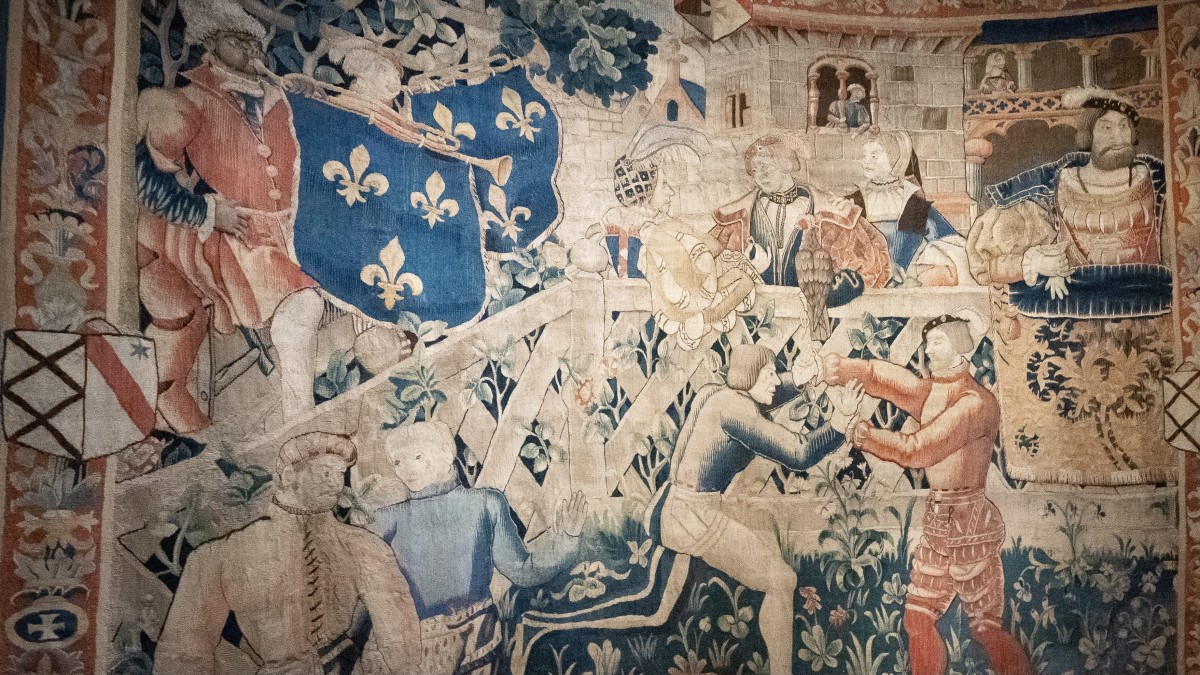 Detail of a tapestry showing wrestling at the Field of Cloth of Gold 1520, on display at Hampton Court Palace in London, May 17, 2021.