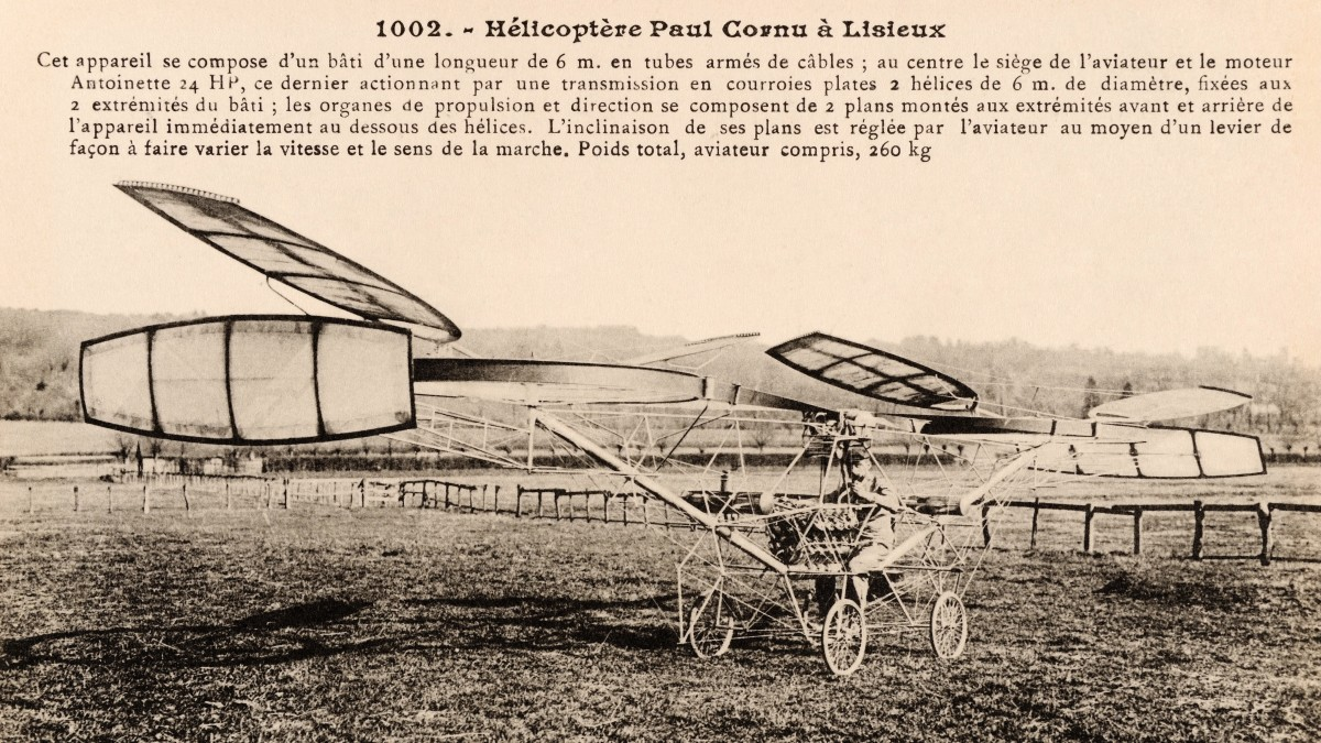 A vintage French postcard featuring the helicopter of Paul Cornu of Lisieux, France, who piloted the first manned flight of a rotary wing aircraft on 13th November 1907.
