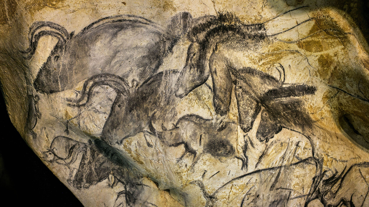 This ice age-era painting in the Chauvet Cave in southern France dates to around 32,000-30,000 B.C.