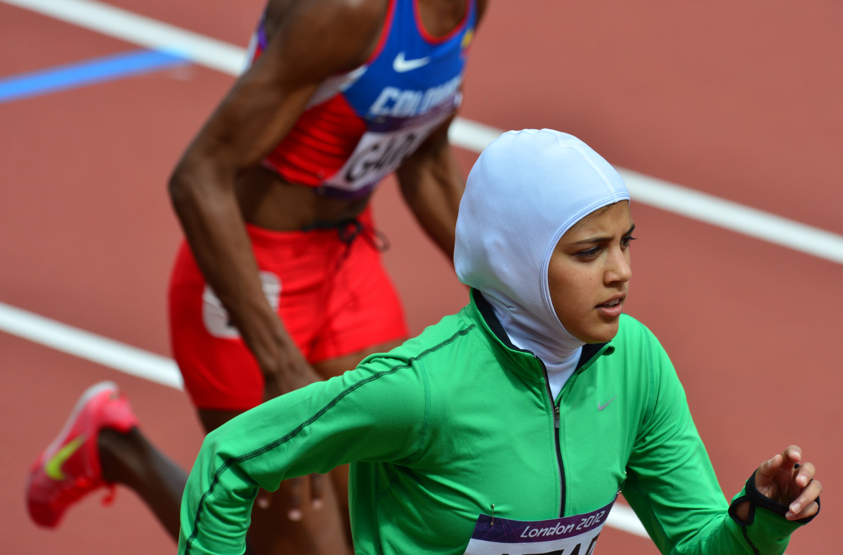 Saudi Arabia's Sarah Attar competes in the women's 800m heats at the athletics event of the London 2012 Olympic Games.