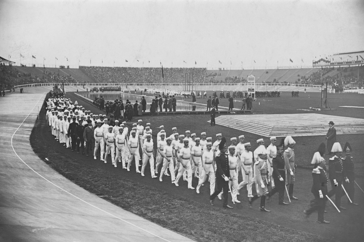 The Opening Ceremony at the 1908 Summer Olympics in London.