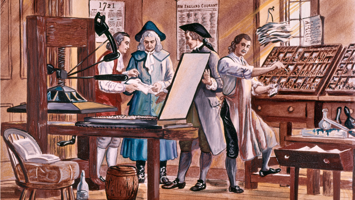 Benjamin Franklin is depicted at age 15 in his brother's printing office in Boston, Massachusetts.