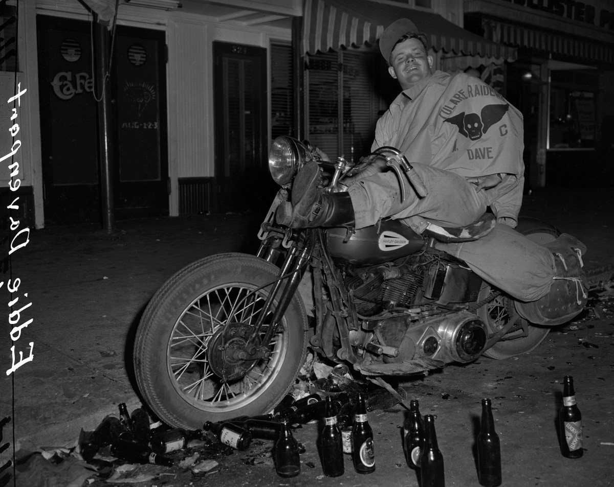 July 7, 1947: Eddie Davenport of Tulare, California on a motorcycle after the Hollister Motorcycle Riot Barney Peterson/San Francisco Chronicle via Getty Images