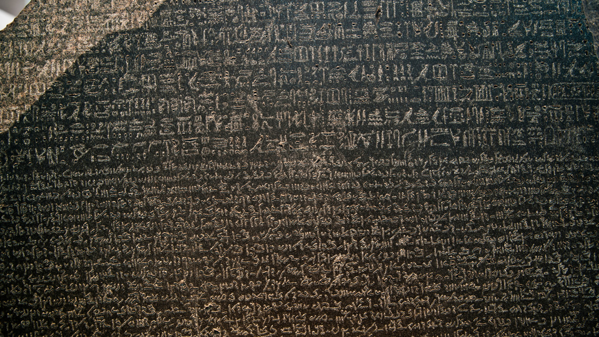 The Rosetta Stone was discovered in 1799 and featured writing in three different scripts: hieroglyphic, demotic and ancient Greek.