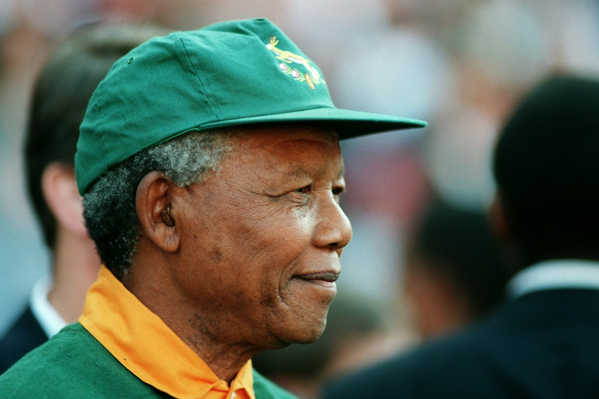 Nelson Mandela at the final between South Africa and New Zealand in the 1995 Rugby Union World Cup in Johannesburg.