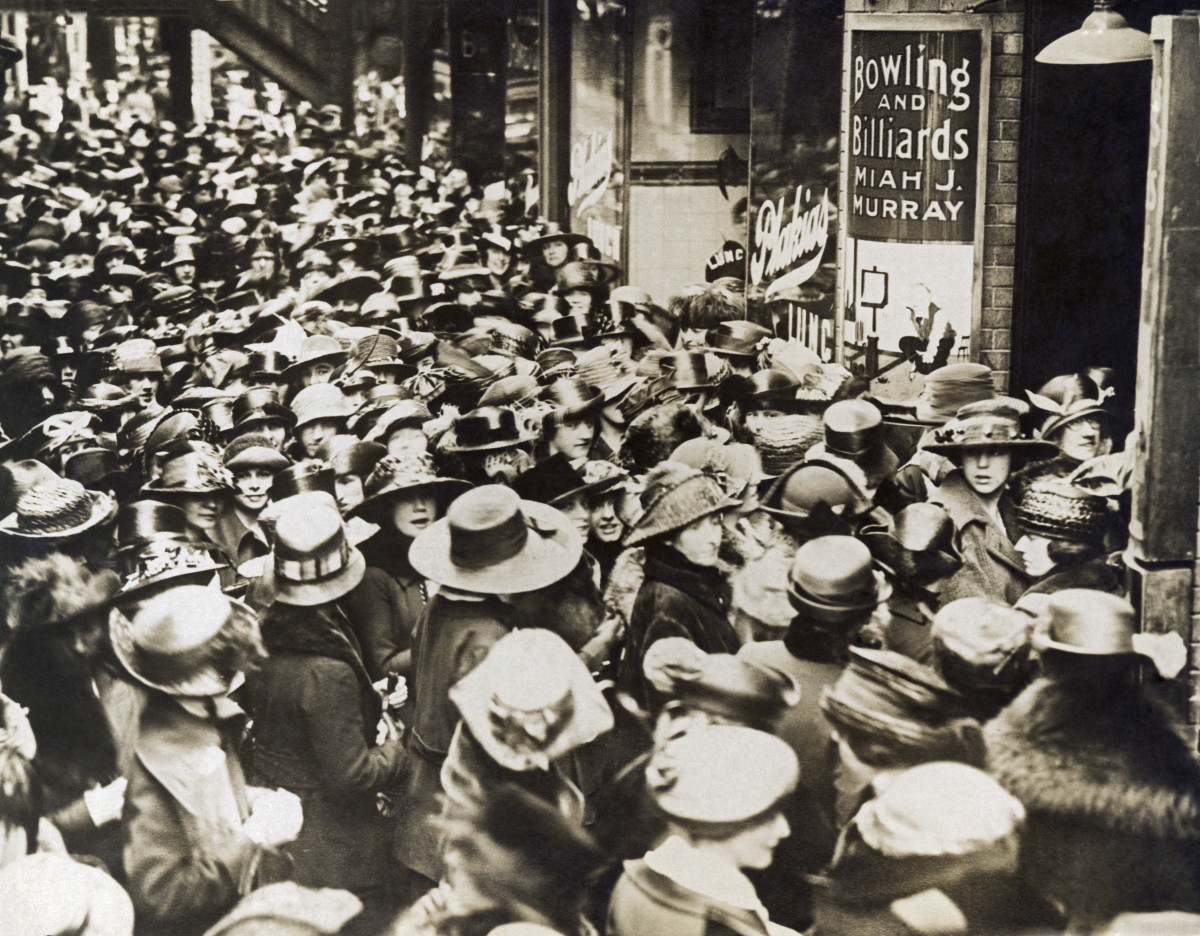 Striking New England Telephone and Telegraph Company operators leaving Fay Hall after a mass meeting, Boston, Massachusetts, April 18, 1919.