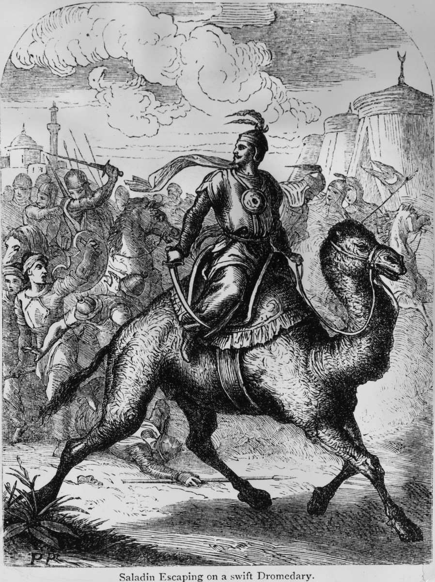 SaladinCirca 1170, Sultan of Eygpt and Syria, Malek Nasser Yusuf Saladin (1138 - 1193), (Salh al-Din) escaping from a battle on a camel.