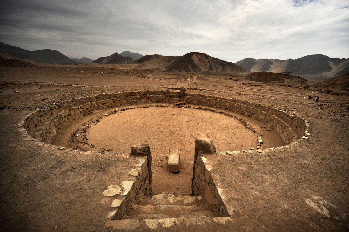 View of one of the amphitheaters of the Caral archaeological complex, in Peru. Almost 5,000 years old, it was built by one of the oldest cultures in the world.