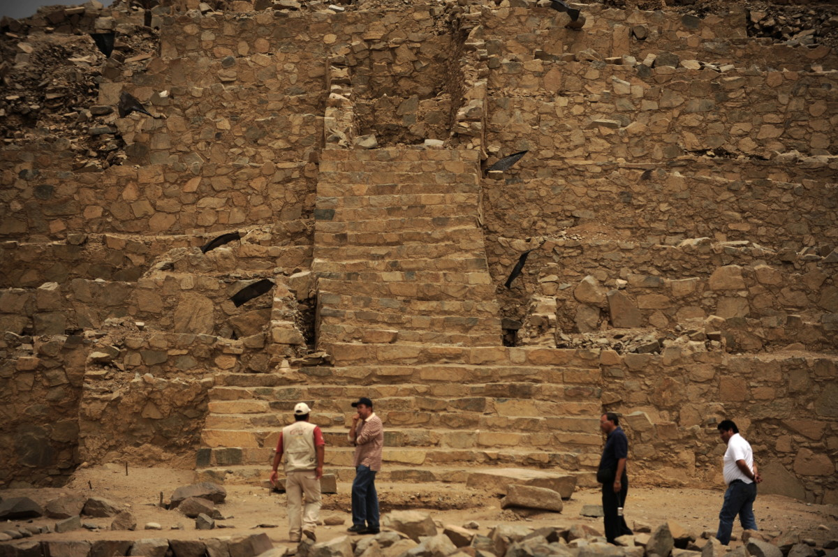 Stairs of one of the pyramids of the Caral archaeological complex