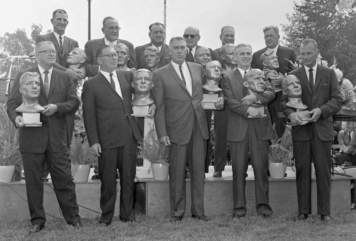 The first Pro Football Hall of Fame Class included icons from the early days of the league, including George Halas, Sammy Baugh and Bronko Nagurski.