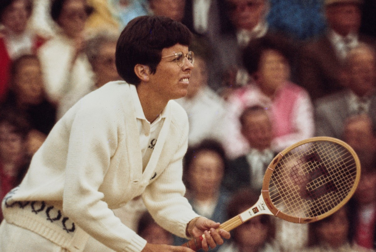 """Billie Jean King of the United States during the Women's Singles Final match against Margaret Court at the Wimbledon Lawn Tennis championships on 3 July 1970 at the All England Lawn Tennis and Croquet Club in Wimbledon in London, England. Court won the match 14""""u201312, 11""""u20139. (Photo by Don Morley/Allsport/Getty Images)"""