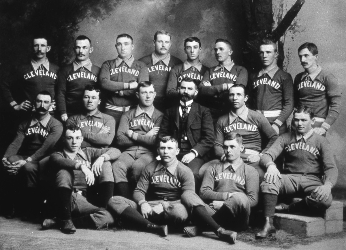 CLEVELAND - 1890. The Cleveland Spiders Base Ball Club poses for a team portrait in 1890. Cy Young is in the photo, middle row, third from left. (Photo by Mark Rucker/Transcendental Graphics, Getty Images)