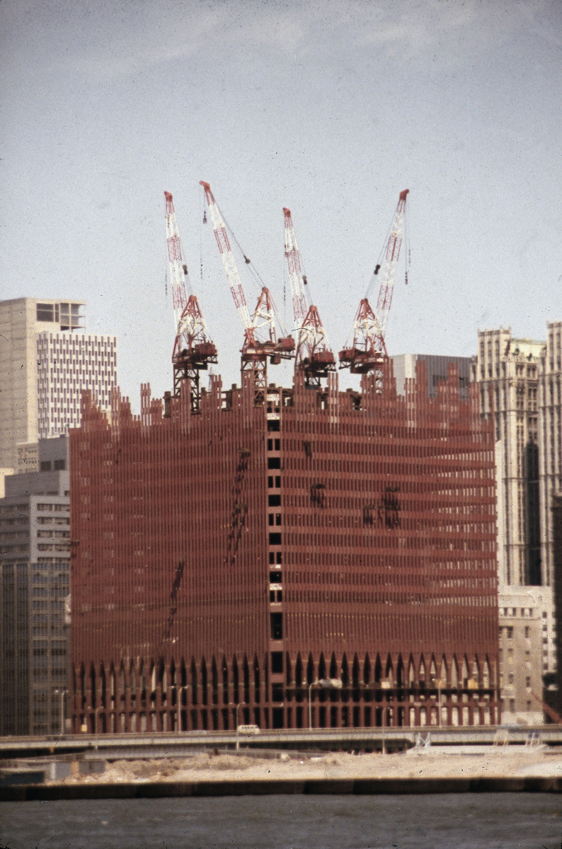 View from the Hudson River of the first tower of the World Trade Center under construction, New York City, circa 1970