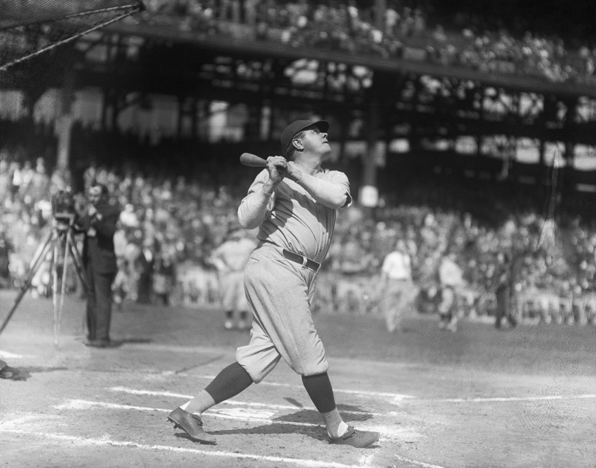 (Original Caption) 10/05/1927-Pittsburgh, PA-Babe Ruth, New York Yankees, knocking out homers during practice at the World Series.