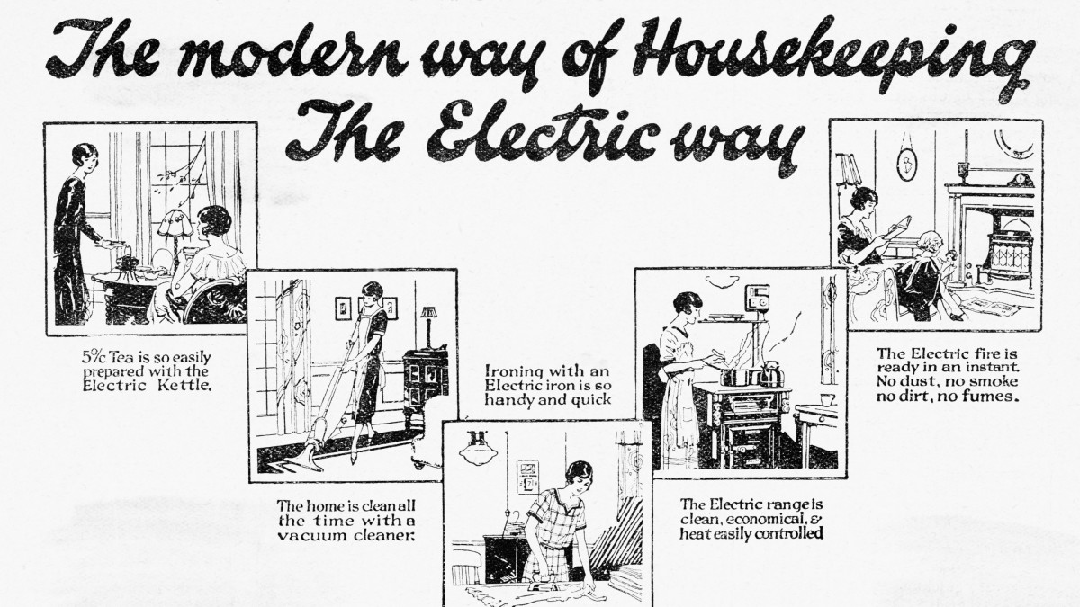Vignettes depicting the modern way of housekeeping, the electric way. Undated illustration.