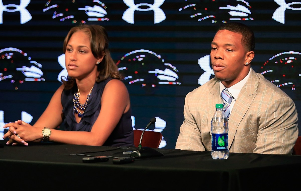 Ray Rice with his wife, Janay, at a news conference in 2014 at the Baltimore Ravens' facility.