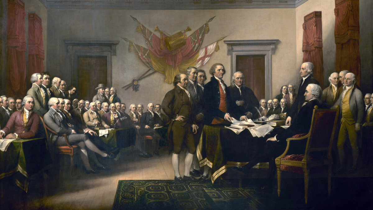 The signing of the Declaration of Independence in Philadelphia on July 4th, 1776.