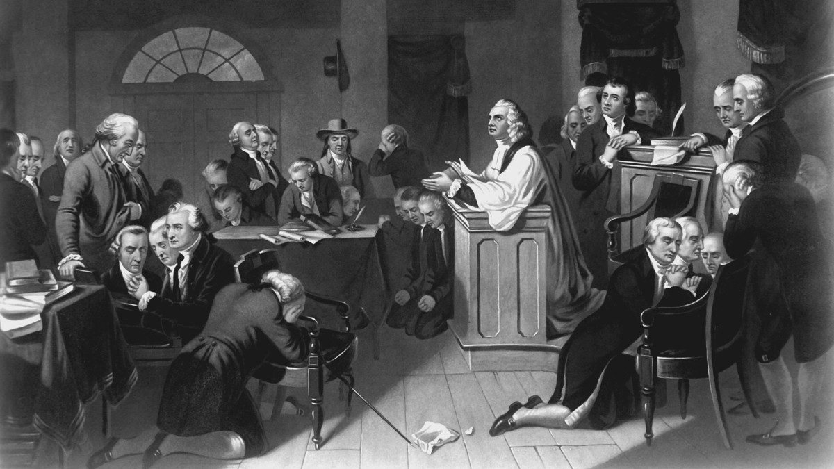 The first prayer in Congress, held in Carpenters Hall, Philadelphia, PA, September 1774.