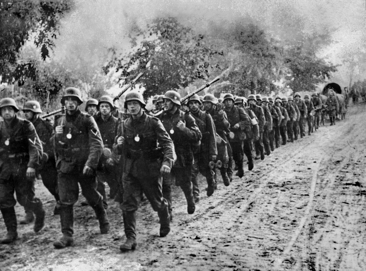 """German troops entering Poland after during """"blitzkrieg,"""" in which 1.25 million men and six armoured divisions swept into the country on September 1, 1939."""