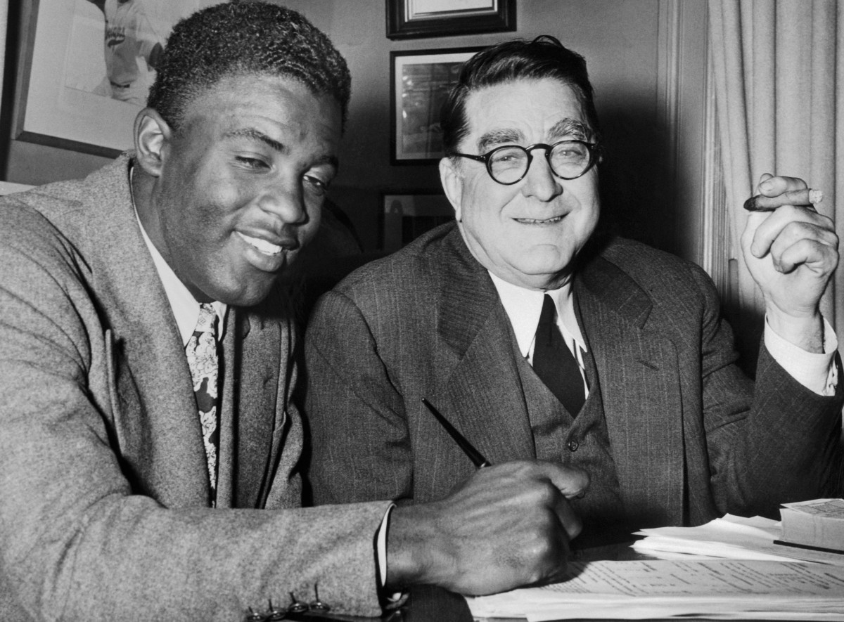 Brooklyn Dodgers general manager Branch Rickey signed Jackie Robinson away from the Negro leagues, fueling tension with Effa Manley.
