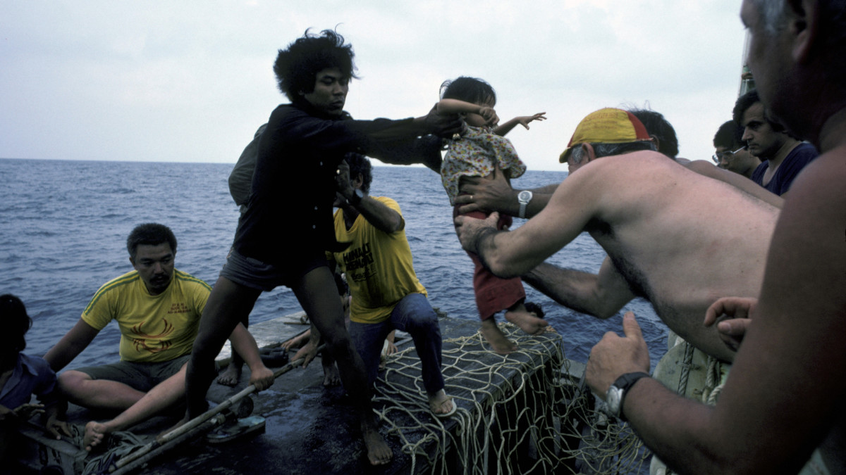 'Boat people' leaving the Vietnam via the South China Sea are rescued by Medecins du Monde, Doctors of the World, in 1982.